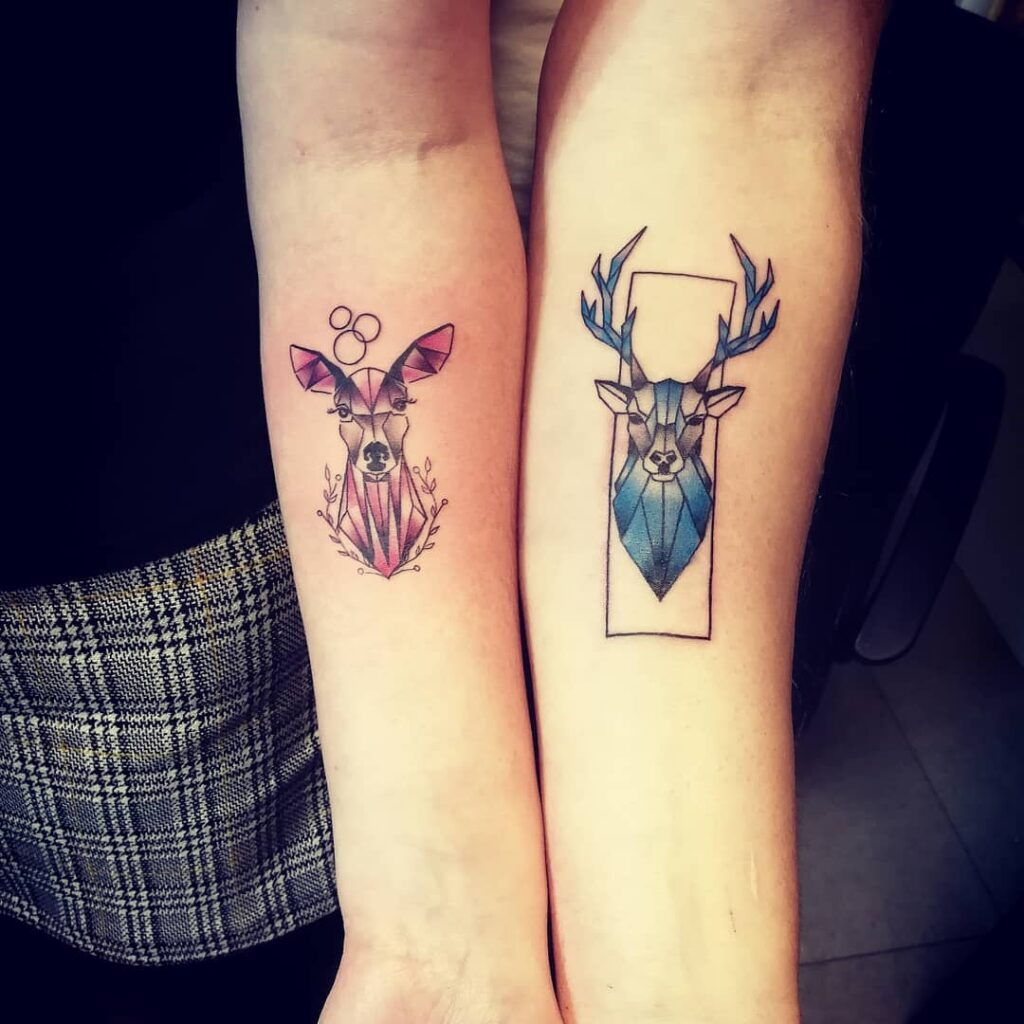 temporary deer minimalist tattoo ideas for couples