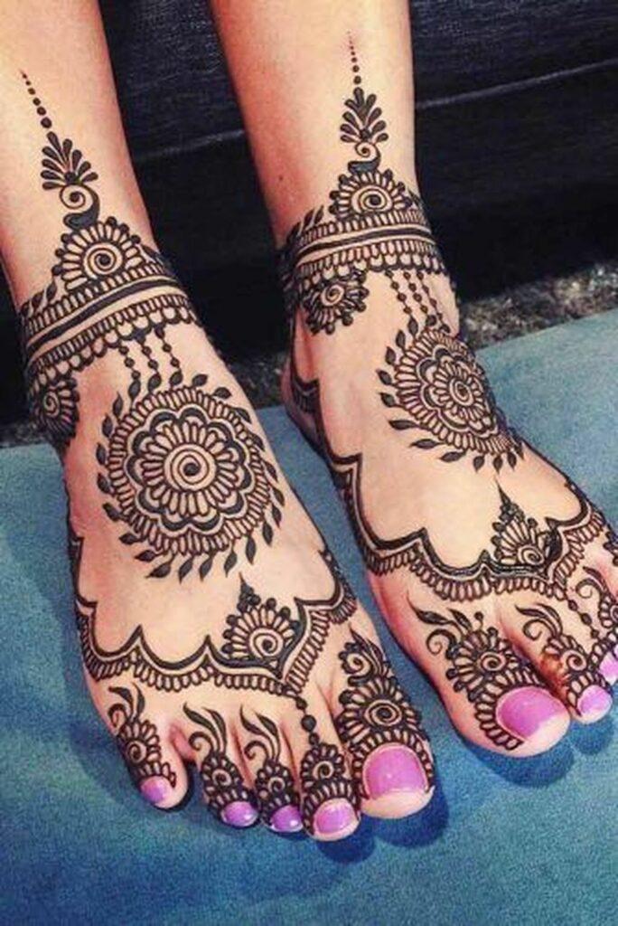 mehndi tattoo simple flower design on foot images
