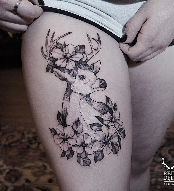 buck tattoos designs onwomen legs