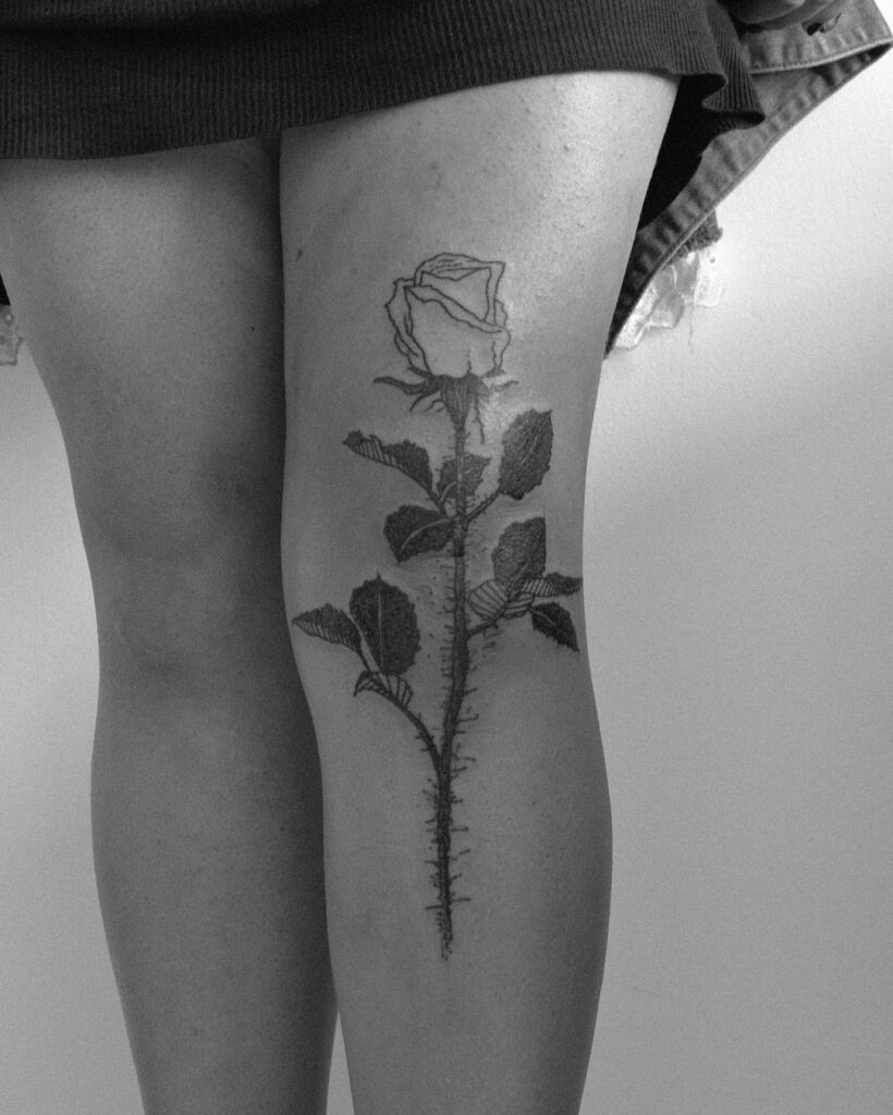 black rose small knee tattoos for females