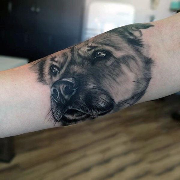 traditional dog portrait tattoo on arm