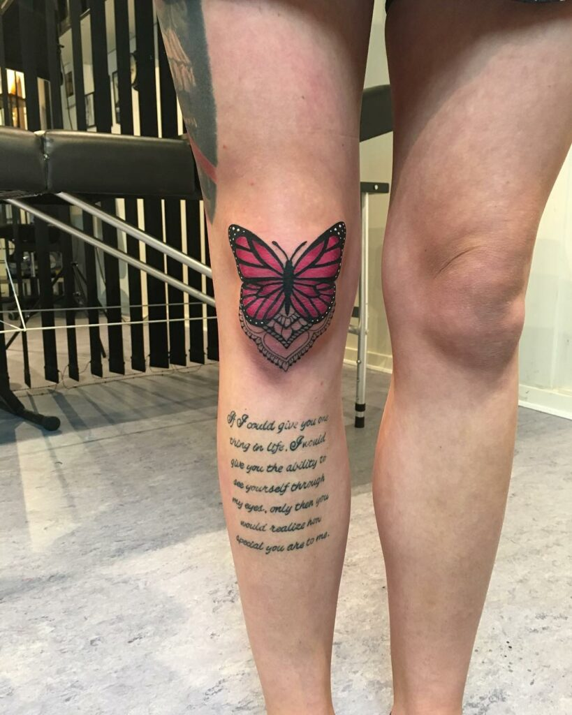 butterfly knee tattoo for girl