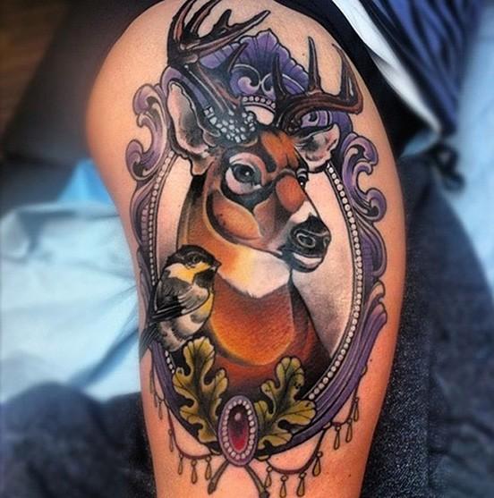 small deer antler tattoo on shoulder design
