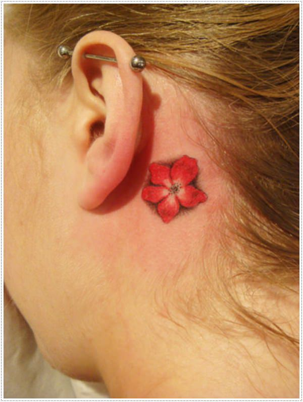 cool red flower small tattoos for women behind ear