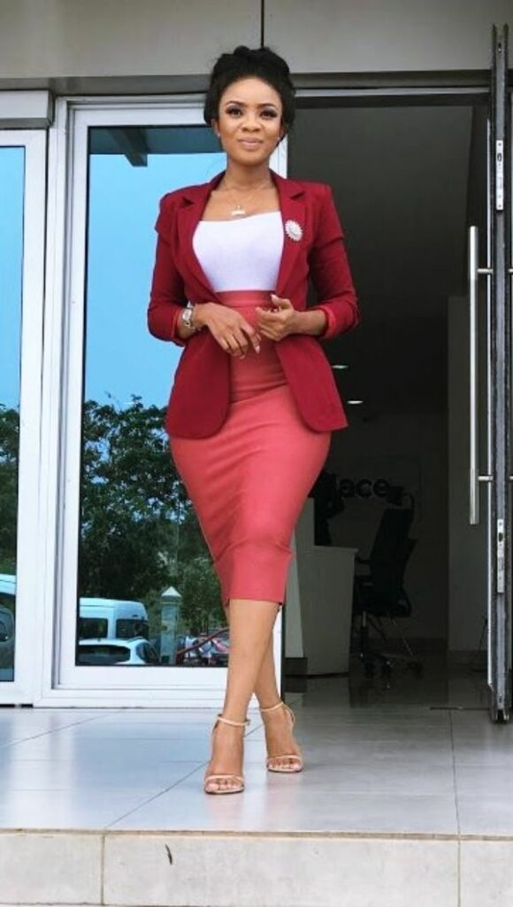 rose color casual outfits for office