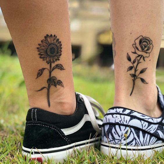 flower leg unusual couple tattoos images
