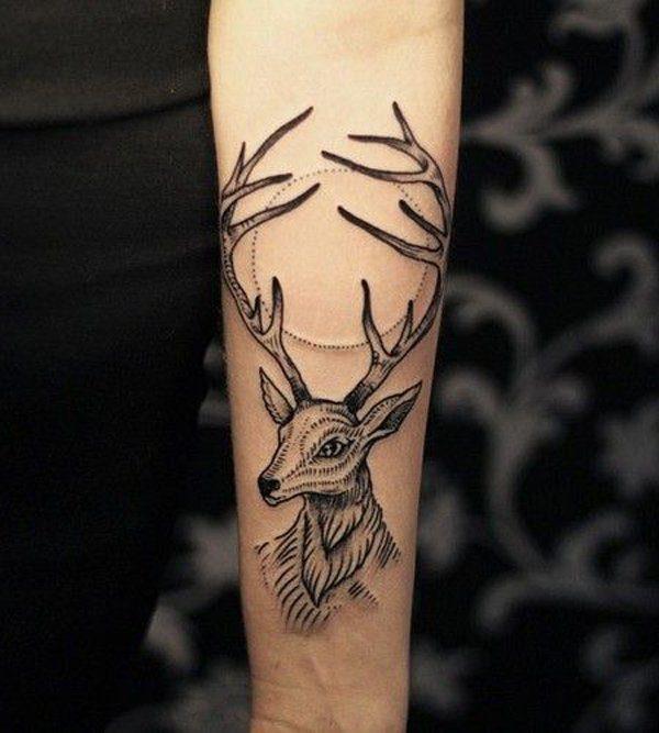 best deer tattoos on arm for female