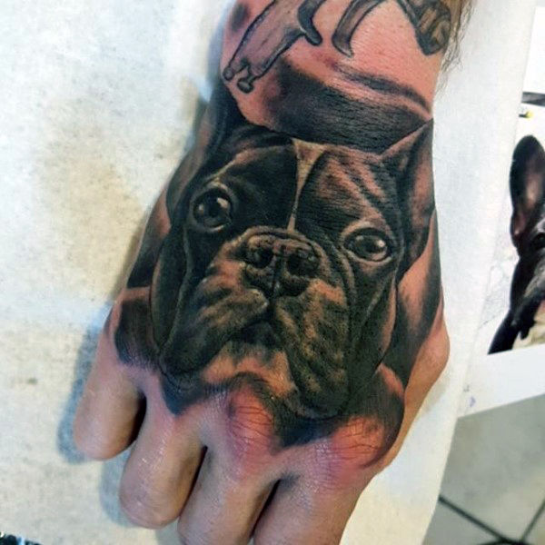 neo traditional dog portrait on hand for men