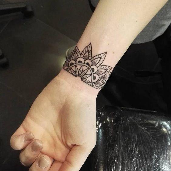 mandala flower symbols cute wrist tattoos for females