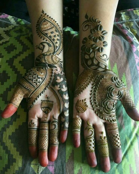 green mehndi flower tattoo on hands images