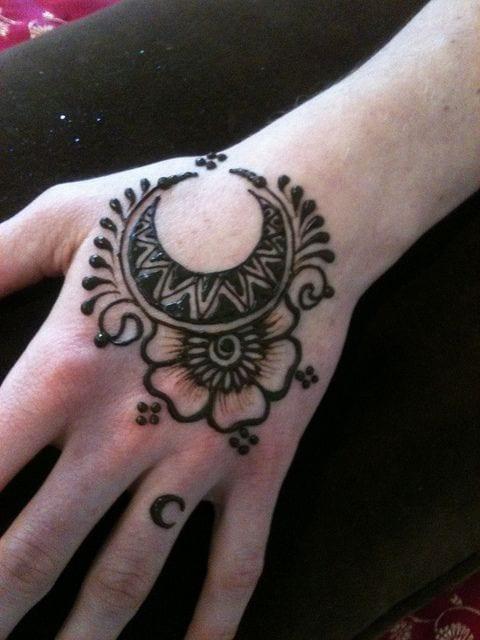 flower moon henna tattoo hand designs