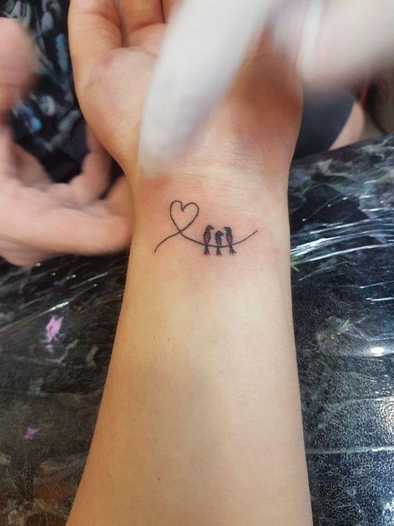 cute bird bracelet tattoo for girls on wrist