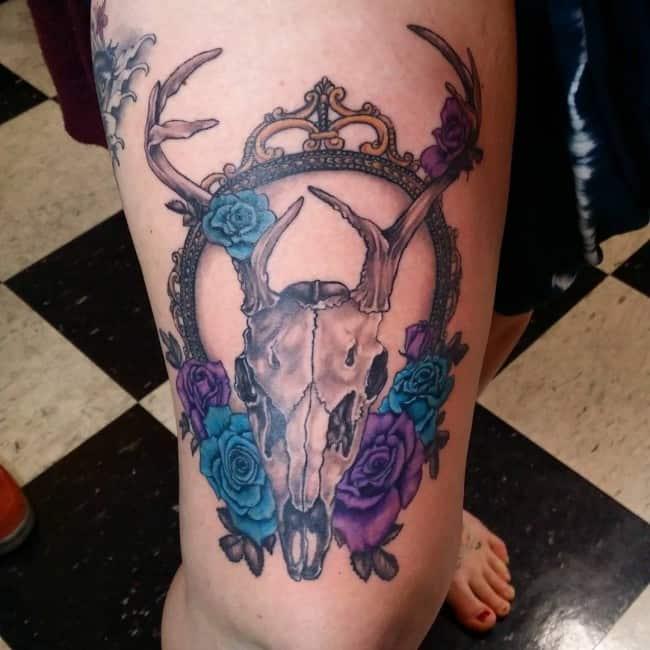 deer skull tattoo ideas on leg images