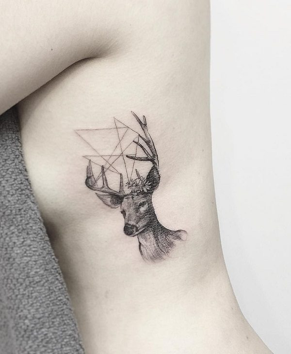 small deer tattoos for girls on stomach side
