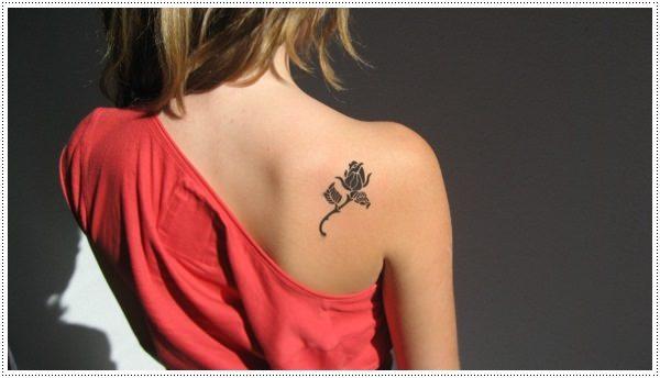 rose cute simple tattoos for girls on back shoulder
