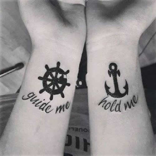 black anchor tattoo ideas for wife and husband