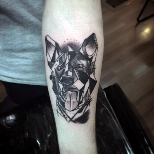 black realistic dog paw tattoo