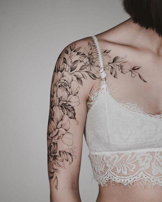flowers female lower arm sleeve tattoos