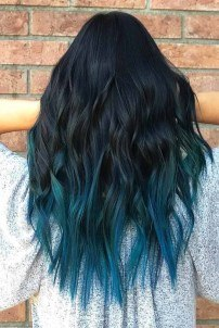 blue green mixed color hair styles images