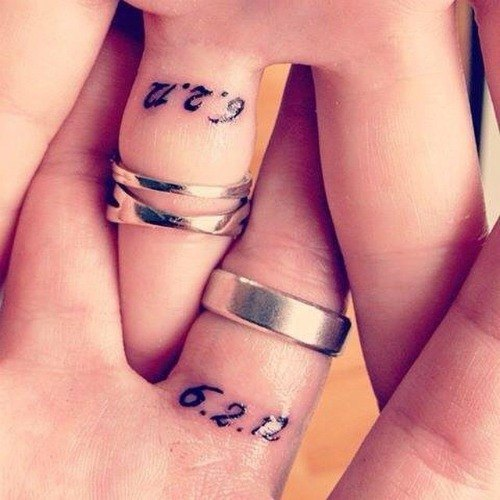 wedding bands tattoos for couples date number on finger