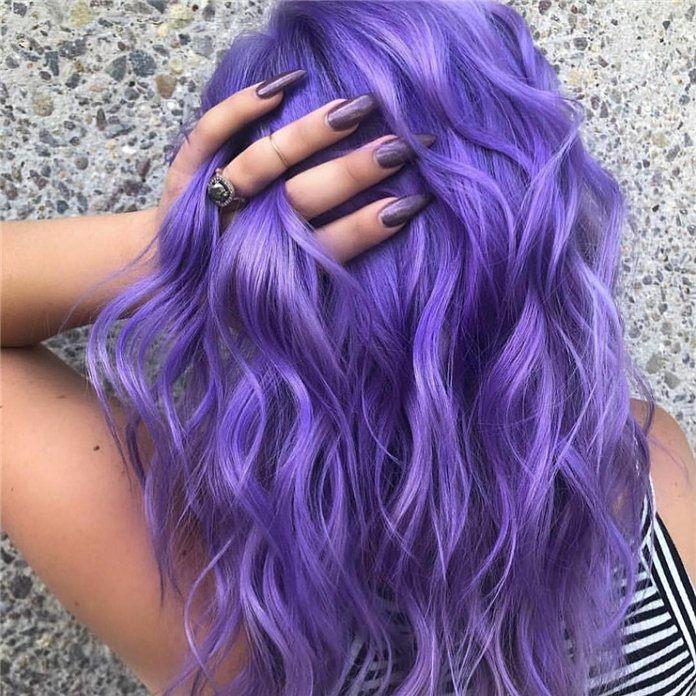 purple colour for long hair ideas