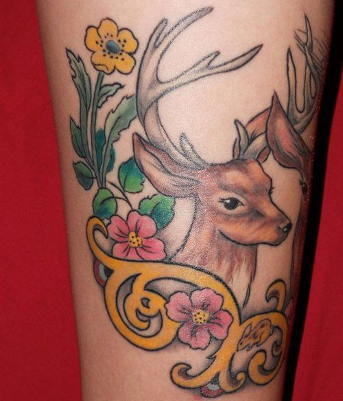 deer tattoo images for ladies body