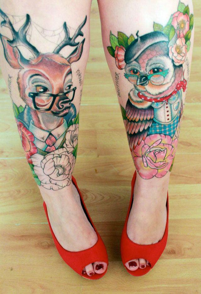 watercolor deer tattoo on female legs ideas