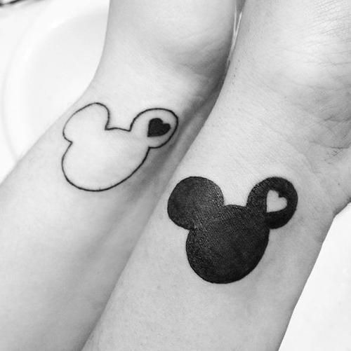 black his and hers mickey and minnie tattoos