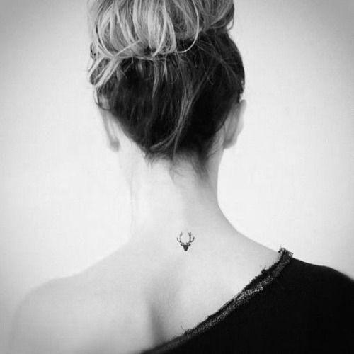 geometric deer tattoo on back for women images