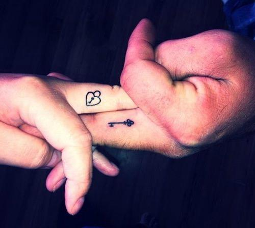 key one life one love tattoo designs couple on finger
