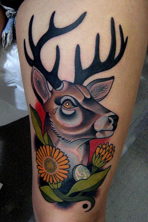 deer head tattoo for your body