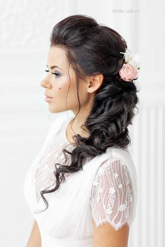 curly bridal hairstyles with flowers black color