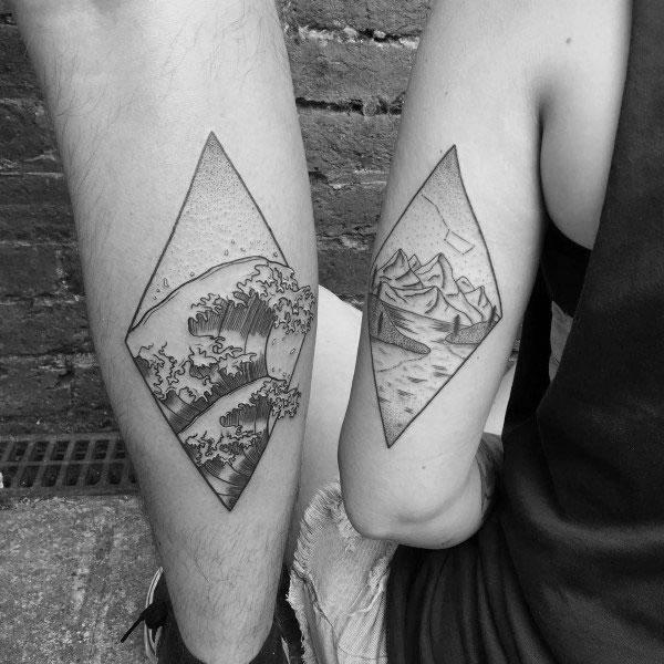 good couple tattoo ideas on back of arm
