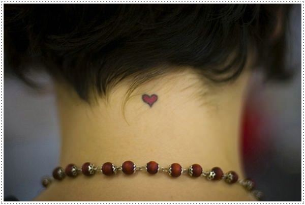 red heart simple tattoos for girls on neck