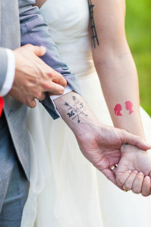 beauty and the beast his and her tattoos on wrist