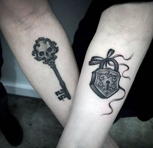 lock key pisces couple tattoos arm images
