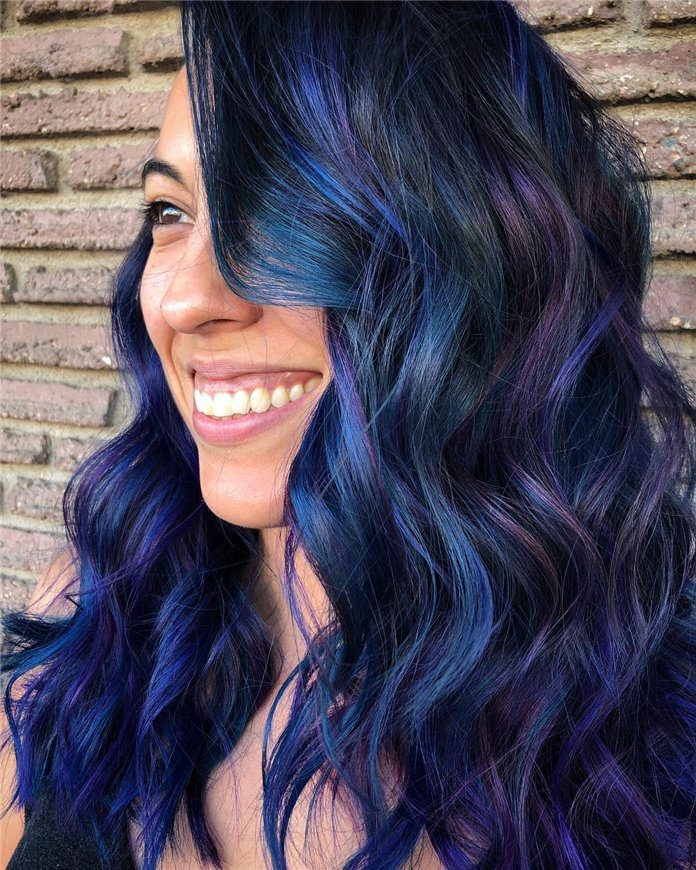 purple blue mixed color for long hair images