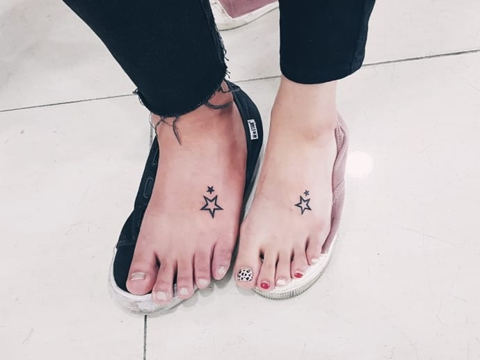 stars lovers tattoo designs on foot images