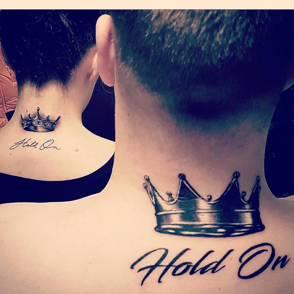 unique couple tattoo ideas on back neck