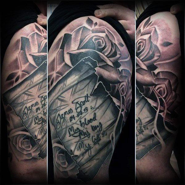 heart with scroll tattoo