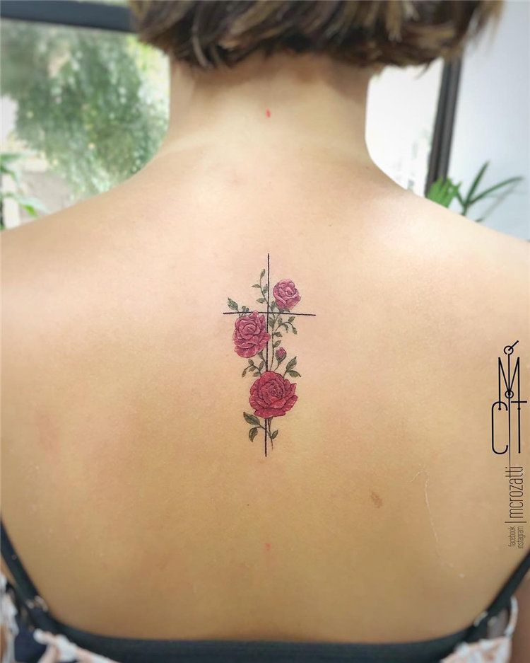 red rose small tattoo design on female back