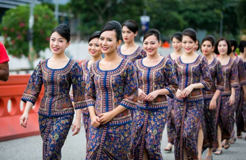 air hostess training female with traditional dress