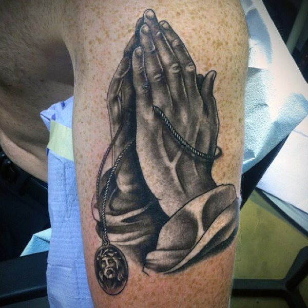 best praying hands with rosary tattoo on arm for men