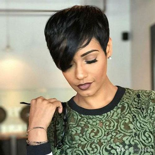 pixie cut with color streaks