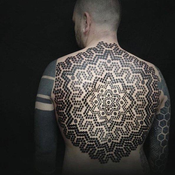 mandala flower symbols full back tattoo design for men