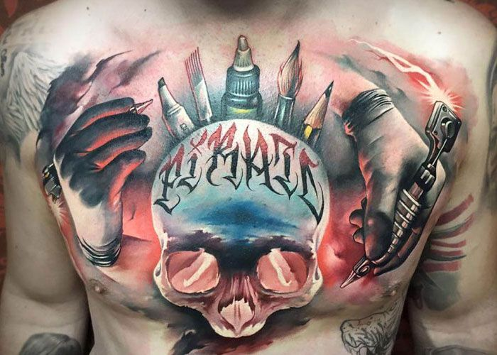 best skull unique chest tattoos for guys pictures