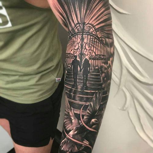 full mens tribal arm tattoos images design