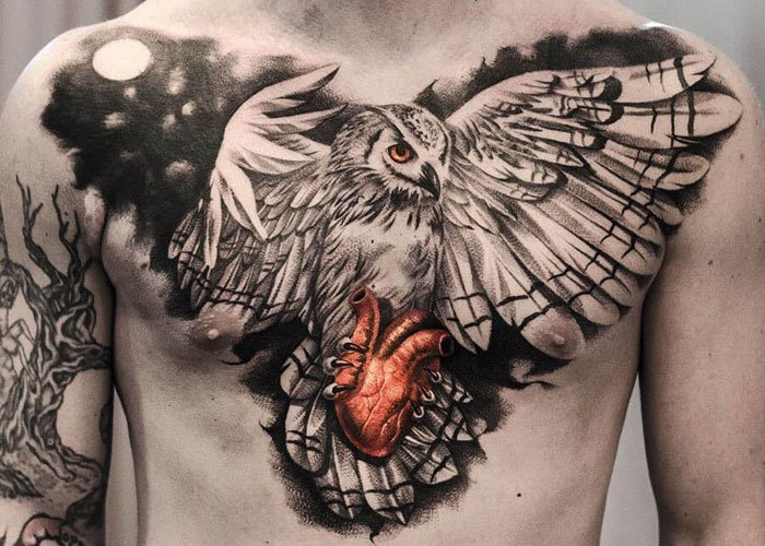 best bird tattoo designs on chest for males