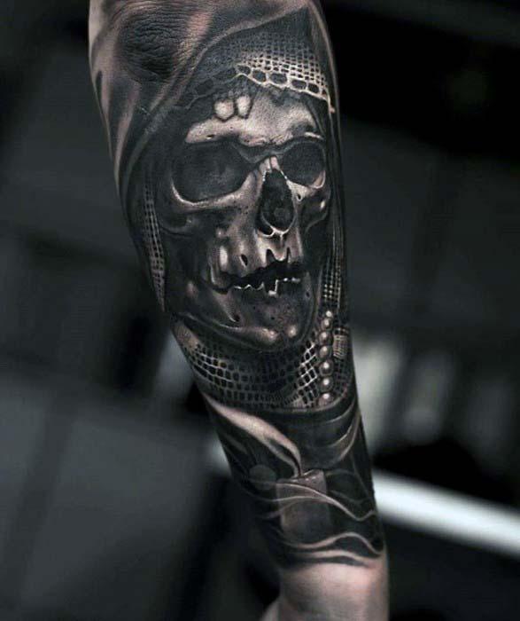 skull simple arm tattoos for men design images