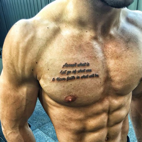 cool chest tattoo name design for men